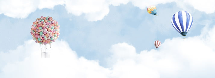 romantic blue sky white clouds balloon fashion banner background, Blue, White Clouds, Romantic Background image