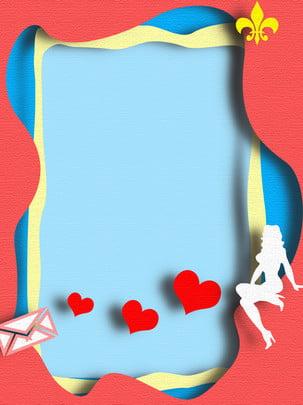 浪漫卡片摺紙微立體背景 , 浪漫, 卡片, 摺紙 背景圖片