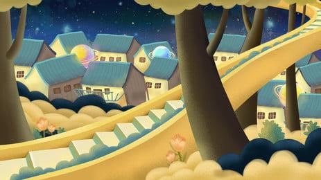 रोमांटिक परी कथा पवन वन घर पृष्ठभूमि डिजाइन, रोमांटिक पृष्ठभूमि, सुंदर पृष्ठभूमि, परी कथा पृष्ठभूमि छवि