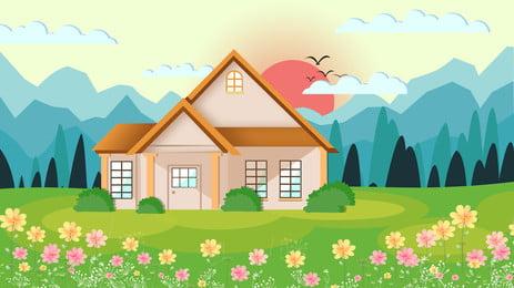 रोमांटिक गार्डन हाउस विज्ञापन पृष्ठभूमि, विज्ञापन की पृष्ठभूमि, घास का मैदान, छोटा फूल पृष्ठभूमि छवि
