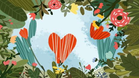 Lãng mạn đáng yêu hoa cây nền Phim hoạt hình Nền Vẽ Sắc Hình Nền