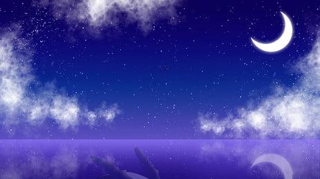 nền quảng cáo ánh trăng lãng mạn, Đám Mây, Lãng Mạn, Đẹp Ảnh nền