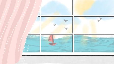 ロマンチックな海辺の窓広告の背景, ヨット, 広告の背景, 手絵 背景画像
