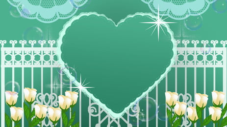 Romantic Wedding Cartoon Love Rose Flower Background, Romantic, Cartoon, Hand Painted, Background image