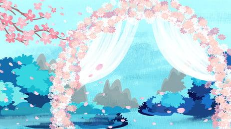 Romantic Wedding Season Beautiful Chinese Style Background, Romantic, Beautiful, Hand Painted, Background image