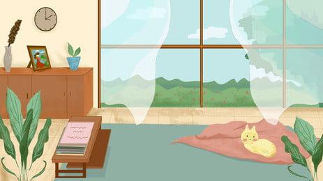 कमरे की खिड़की के पर्दे इनडोर प्लांट कैट कार्टून पृष्ठभूमि, कक्ष, खिड़की, परदा पृष्ठभूमि छवि