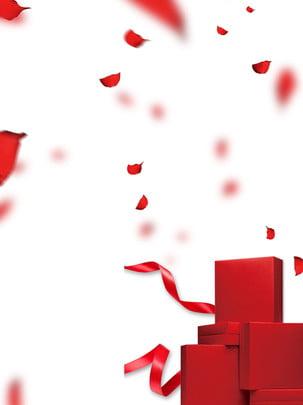 Rose gift dia dos namorados fundo pétalas vermelho Vermelho Dia dos namorados Romântico Pétala Rose Presente Dos Rose Gift Imagem Do Plano De Fundo