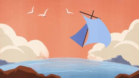 sailboat seagull background on simple sea, Seagull, Sailboat, Sea Background image