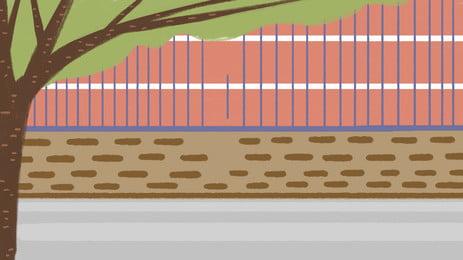 Material de fundo de parede de parque escolar escola estação escolar Playground Parede exterior Vedação Temporada de Abertura Começando Da Imagem Do Plano De Fundo