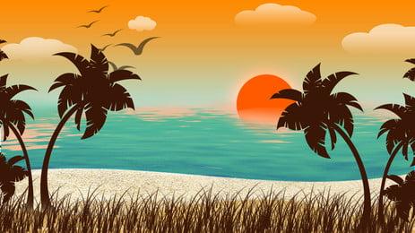 海水草原ココナッツツリーツバメ日の出風景の背景, 海水, グラスランド, ココナッツの木 背景画像
