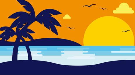 समुद्रतट सूर्यास्त शाम कार्टून पृष्ठभूमि डिजाइन, कार्टून पृष्ठभूमि, बैनर की पृष्ठभूमि, समुद्रतट की पृष्ठभूमि पृष्ठभूमि छवि
