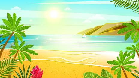 समुद्रतट सूर्यास्त चित्रण पृष्ठभूमि डिजाइन, हाथ खींचा हुआ, समुद्रतट की पृष्ठभूमि, सूर्यास्त पृष्ठभूमि छवि