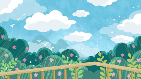 觀光欄杆綠色樹林藍天白雲卡通背景 觀光 欄杆 綠色背景圖庫