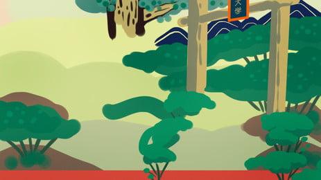 簡約校園風景廣告背景 廣告背景 清新 植物背景圖庫