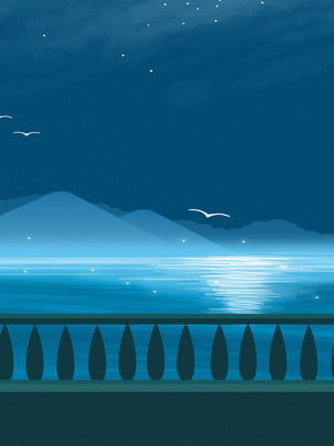 簡約冷色調夜空下的大海和海鷗廣告背景 , 簡約, 冷色調, 夜空 背景圖片