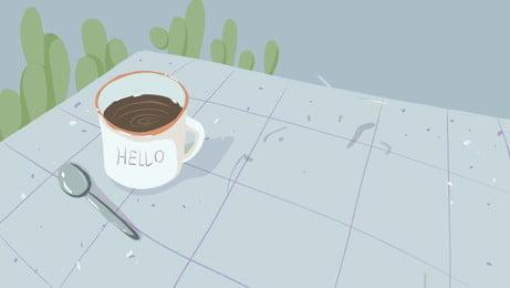 Простые материалы для плаката hello august, кактус, завод, Кофейная чашка Фоновый рисунок
