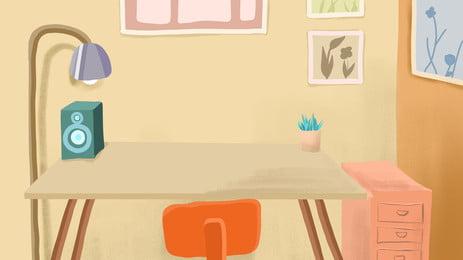 Chất liệu nền bàn làm việc đơn giản Đèn bàn Âm thanh Bảng Ghế Ảnh Học Trang Ngữ Hình Nền