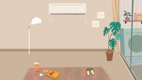 Chất liệu nền nội thất nhà đơn giản Điều hòa Trong nhà Đèn Chậu Cây Trong Hình Nền