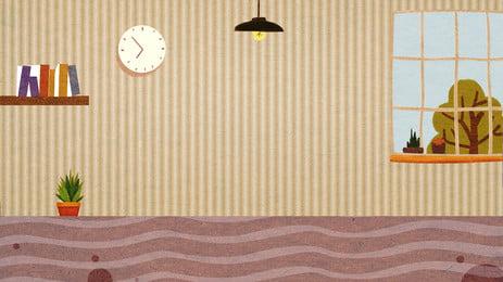 Fundo de ilustração de chão de parede simples em casa Fresco Caricatura Bonito Fundo de casa Wall Chão Fundo PSD Placa Pintado Imagem Do Plano De Fundo