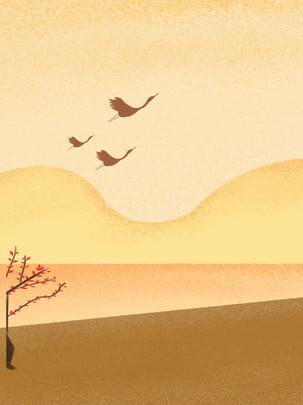 シンプルな文学ゴールデン秋暖かい色のガチョウnanfei広告の背景 , 単純な, 文学, 黄金の秋 背景画像