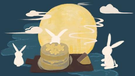 Фестиваль простой середины осени mooncake jade rabbit moonlight Справочные материалы Лунный пирог Праздник Фоновое изображение