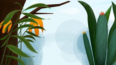 簡約植物仙人掌背景素材, 植物, 綠植, 仙人掌 背景圖片