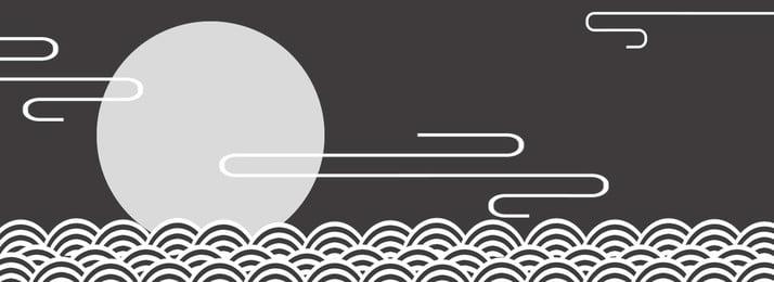 Đơn giản retro Trung Quốc mô hình sóng gió nền biểu ngữ đám mây Đơn giản Retro Phong cách Sóng Moire Biểu Hình Nền