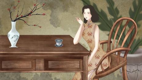 धूम्रपान करने वाली महिला पृष्ठभूमि लकड़ी की कुर्सी पर बैठी हुई है, शनि, लकड़ी की कुर्सी, चोंगसम पहनें पृष्ठभूमि छवि