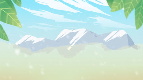 snow mountain river water green leaves cartoon background, Snow Mountain, River Water, Green Leaf Background image