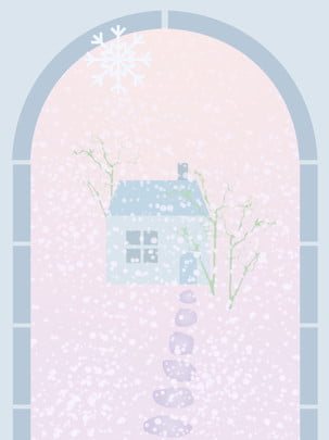 雪のシーン冬青ピンクパープルスノーフレークハウスストーンロードの背景 雪のシーン スノーフレーク スノードリフト 背景画像