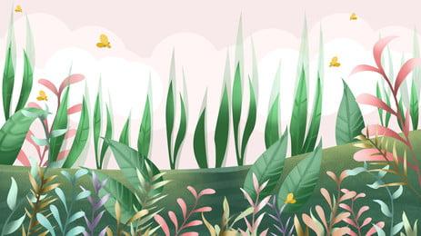 Spring Fresh Outdoor Grass Small Flower Butterfly Background Design, Spring Background, Fresh Background, Grass Background, Background image