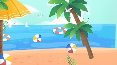 夏日海灘椰樹背景素材, 海灘, 夏天, 椰樹 背景圖片