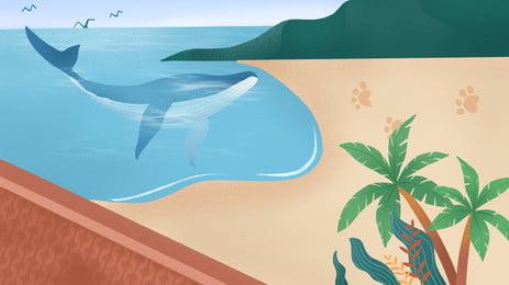 mùa hè cá heo bãi biển nền du lịch coco, Nền Du Lịch, Cây Dừa, Bãi Biển Ảnh nền