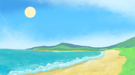 Summer Beach Vacation Background Material Sky,sea,blue Sea, Blue, Sky, Travel, Background, Background image