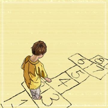 summer cool childhood game hopscotch cute hand drawn illustration background , Summer, Cool, Childhood Background image