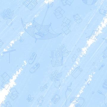 mùa hè mát mẻ ánh sáng màu xanh dễ thương trẻ con vẽ tay minh họa nền , Mùa Hè, Màu Xanh Nhạt, Tuyệt Ảnh nền