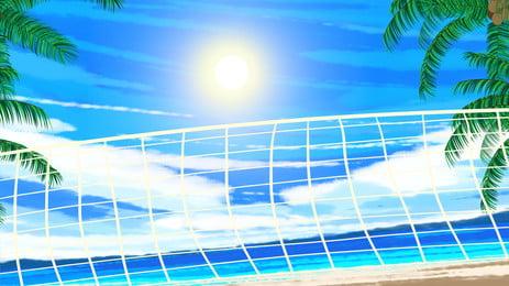 bola sepak pantai musim panas cuti tampar bersih latar belakang, Cantik, Pantai, Bahan Tepi Laut imej latar belakang