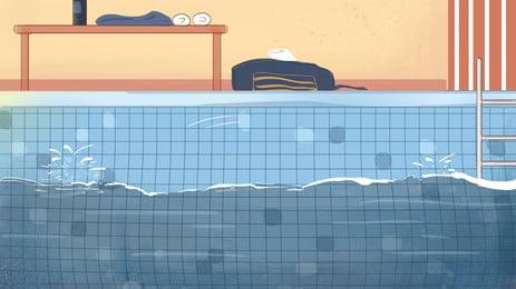 Kỳ nghỉ hè vật liệu nền bể bơi đơn giản Mùa Thu Bể Hình Nền
