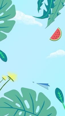 Lá mùa hè dưa hấu nguyên liệu nền Dưa hấu Màu xanh Hoa Lá Áp Hoạt PSD Nền Hình Nền