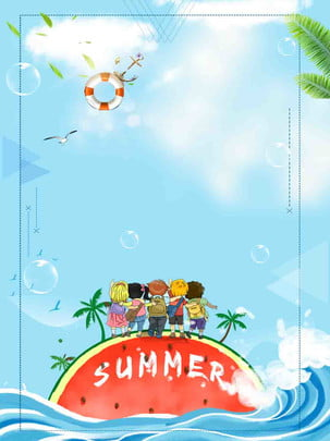 夏の小さな夏青い波シンプルなイラスト , 単純な, ブルー, 夏 背景画像