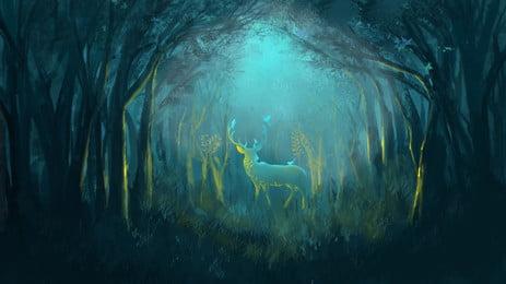 Mùa hè ánh trăng gỗ elk vật liệu nền Rừng Nai sừng tấm Động Hè Ánh Nền Hình Nền