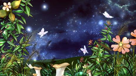 夏の夜の緑豊かな花青い空蝶の背景 夏の夜 青々とした 花 背景画像