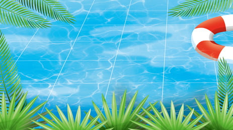 summer pool high temperature background material, Leaves, Plant, Swimming Ring Background image