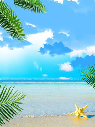 summer seaside leaves poster background , Summer, Seaside, Leaf Background image