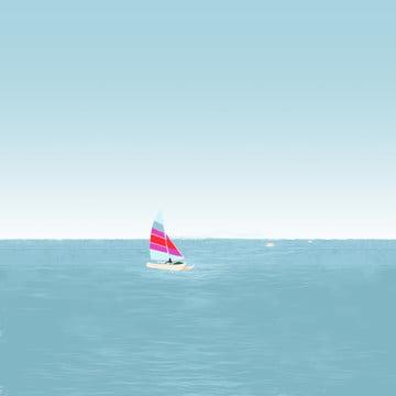 夏日海邊帆船衝浪 , 夏日, 海邊, 海面 背景圖片
