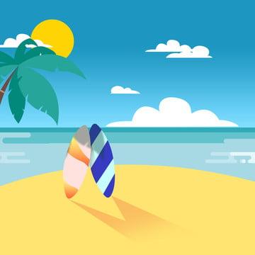 夏日海邊衝浪滑板沙灘 , 夏日, 海邊, 滑板 背景圖片