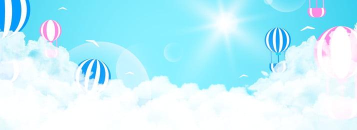 summer sky hot air balloon banner background, Blue, Cartoon, Romantic Background image
