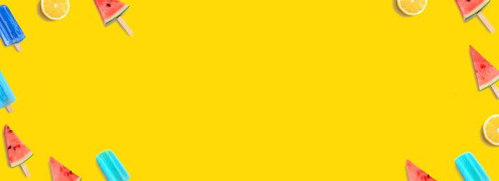 여름 작은 분명 귀여운 노란 수박 배경 일러스트 레이션, 작은 선명도, 귀여운, 배너 배경 이미지