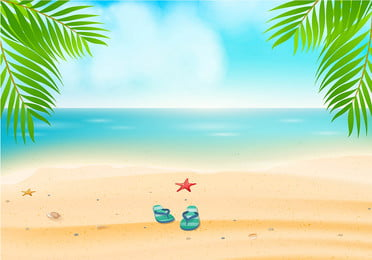 Summer Travel Exclusive Seaside Background Material, Seaside, Beach, Plant, Background image