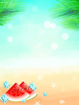 summer watermelon ice cubes poster background , Summer, Cold Drink Shop, Ice Cube Background image